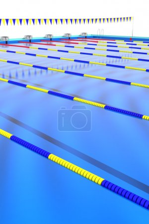 Course rope floating in the swimming pool