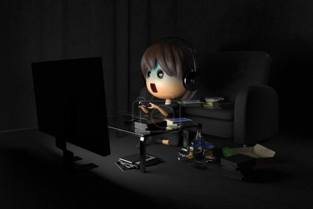 Person who is pale playing a game in dark room