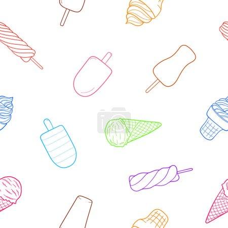 Illustration pour Crème glacée motif sans couture. Élément esquisse design pour menu café, bistro, restaurant, emballage et autres choses. Illustration vectorielle. - image libre de droit