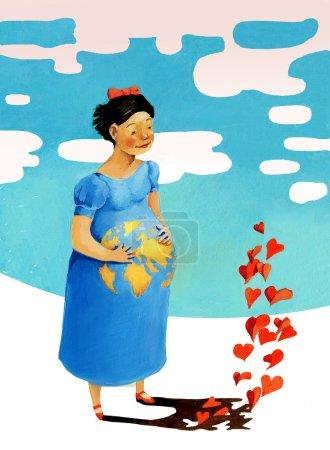 Photo pour Sur le ventre d'une femme enceinte, il est entraîné dans le monde entier, de sa silhouette de coeurs - image libre de droit