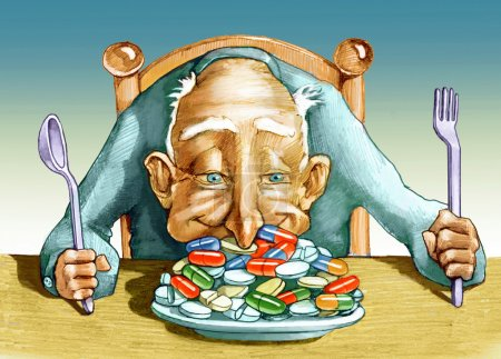 Photo pour Un aîné a une assiette pleine de pilules et plonge nez extatiquement - image libre de droit