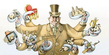 Photo pour Un riche capitaliste enveloppe ses tentacules tant de secteurs de la société - image libre de droit