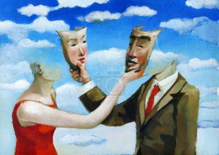 Photo pour Un homme et une femme se cachent mutuellement leur partenaire avec un masque - image libre de droit