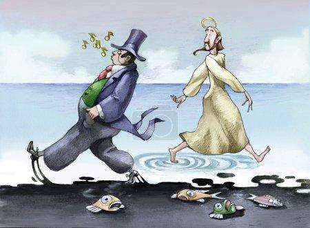 Photo pour Jésus marchant sur l'eau, un financier marchant à côté de lui mais sur une marée noire - image libre de droit
