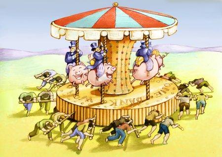 Photo pour Les travailleurs poussent à peine un carrousel pour les puissants assis sur des tirelires - image libre de droit