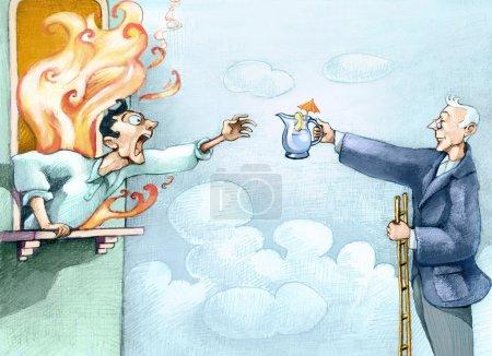 Photo pour Un homme se penche en criant d'une fenêtre dans les flammes en criant à l'aide, un autre sur une échelle l'aide, lui donnant un petit pichet d'eau - image libre de droit