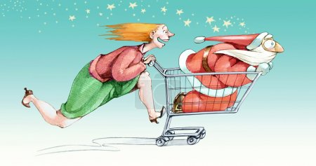 Photo for A woman excited fast pushes a cart in a Santa Claus with a little scared by the speed - Royalty Free Image