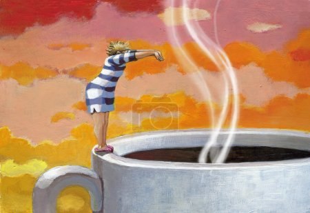 Photo pour Une femme éventrée de son réveil plonge dans une énorme tasse de café - image libre de droit