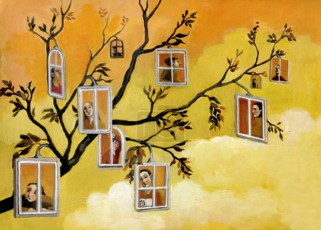 Photo pour D'une branche à prendre autant de fenêtres qui donnent sur les gens - image libre de droit