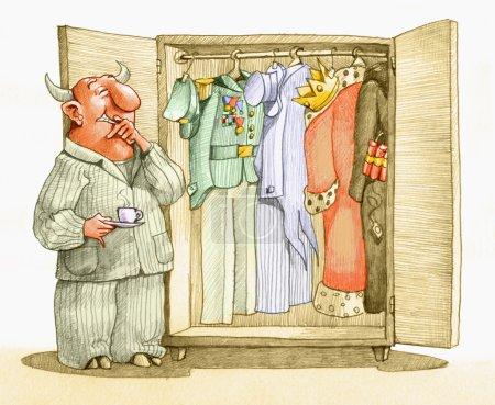 Photo pour Un diable regarde dans sa garde-robe pour décider de s'habiller en riche, militaire, roi ou terroriste - image libre de droit