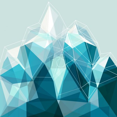 Abstract geometry blue mountain