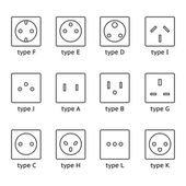 Different type power socket set vector isolated icon illustration for different country plugs