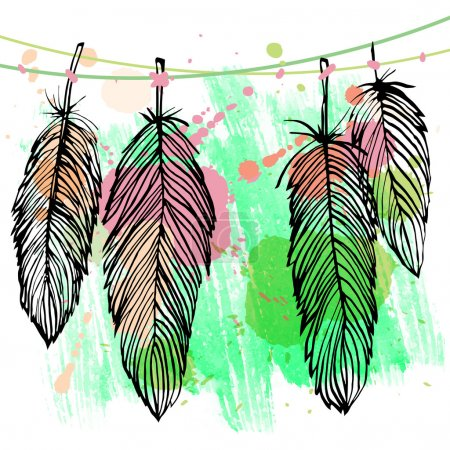 Colorful watercolor feather set