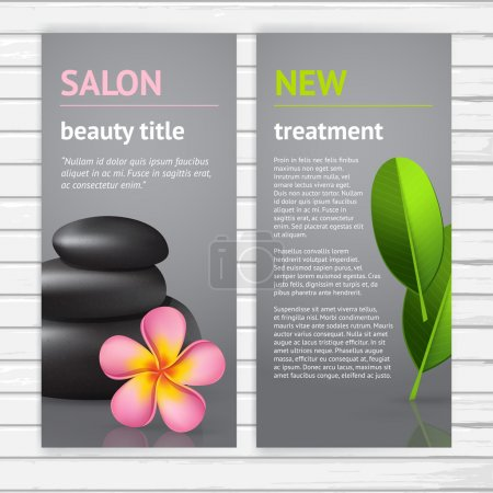 Illustration for Spa advertisement flyer design template with realistic pink asian frangipani flower, green leaf and black stones, vector modern vertical card with sample text on white wood background - Royalty Free Image