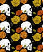 Skull and rose seamless pattern