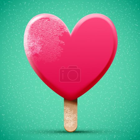 Illustration pour Crème glacée glacée au chocolat rose en forme de coeur - image libre de droit