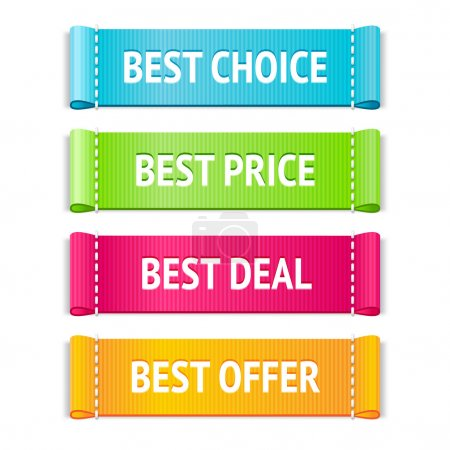 Illustration for Best fabric labels set with best choice, price, deal and offer signs - Royalty Free Image