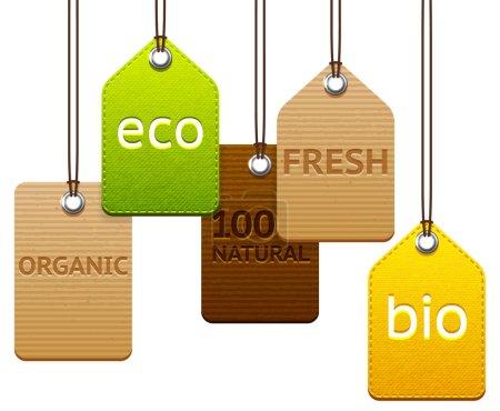 Ilustración de Set of different eco and organic labels collection of hanging tags - Imagen libre de derechos