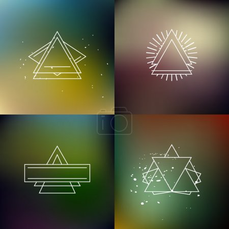 Illustration for Blurred dark green nature colors backgrounds set with hipster outline badges and - Royalty Free Image