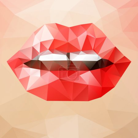 Illustration for Beautiful woman red triangle lips, vector abstract bright geometric illustration - Royalty Free Image