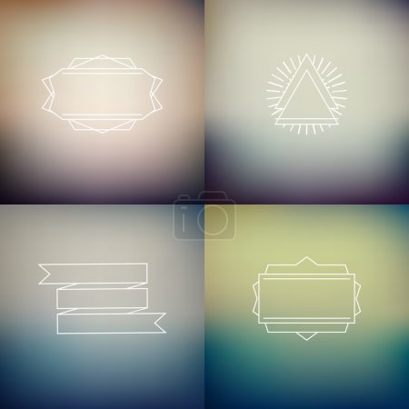 Illustration for Instagram filter colors style blurred backgrounds with decoration badges, vector - Royalty Free Image
