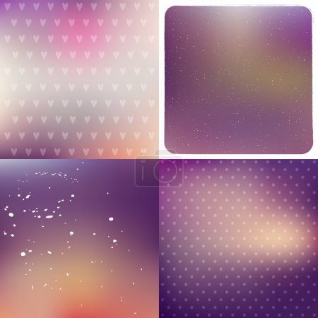 Illustration for Purple blurred vector backgrounds set, with hearts and polka dots pattern, frame, dust and - Royalty Free Image