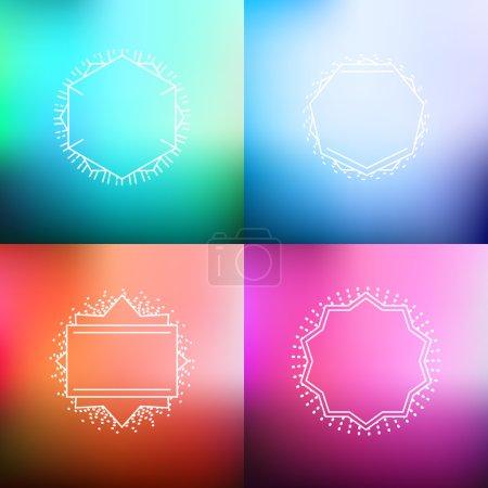 Illustration pour Ensemble d'arrière-plans flous abstraits vectoriels colorés avec des badges de ligne hipster - image libre de droit