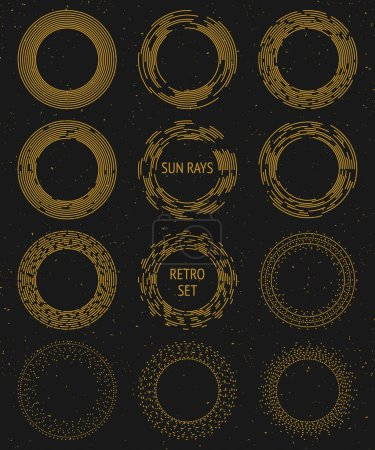 Vintage vector gold sunburst set, graphic design c...
