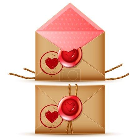 Illustration pour Icône de message confidentiel vecteur romantique, isolés enveloppes rétro ouvertes et fermées, avec de la cire sceau et cachet du coeur - image libre de droit
