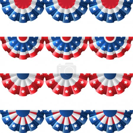 US flag round bunting decoration, isolated vector ...