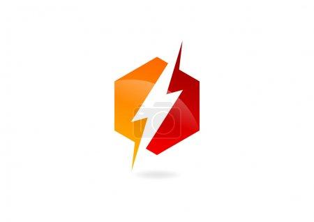 Illustration for Electric hexagon logo design symbol vector - Royalty Free Image