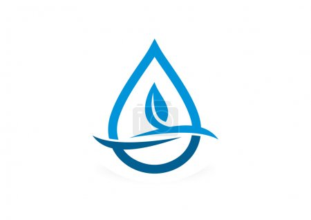 Waterdrop fresh leaf logo design symbol vector
