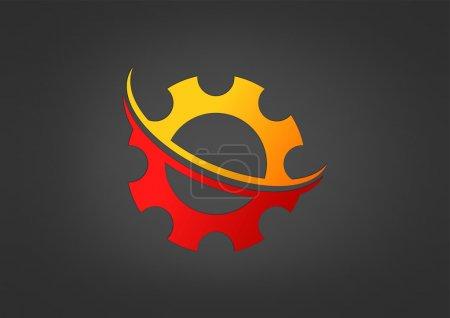 Illustration for Gear swirl technology logo design vector - Royalty Free Image