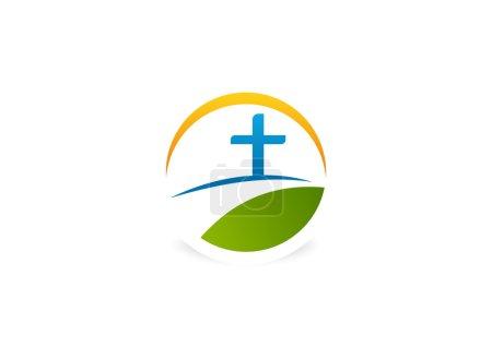 Photo pour Croix chemin religieux logo conception symbole vecteur - image libre de droit