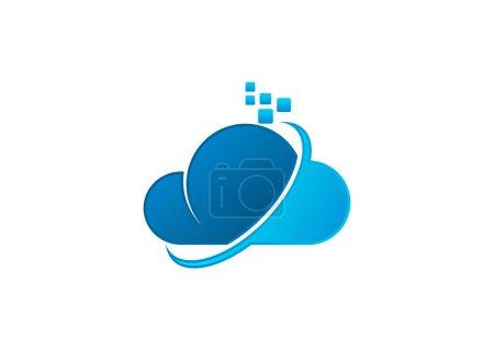 Illustration pour Cloud Business computing vecteur de conception de logo - image libre de droit