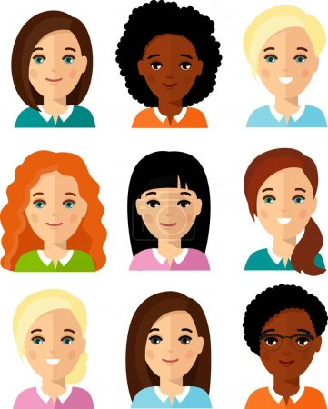 Photo pour Différents avatars sont une afro-américaine, femme gestionnaire européenne. - image libre de droit