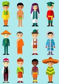 Vector illustration of multicultural national children people in  traditional costumes