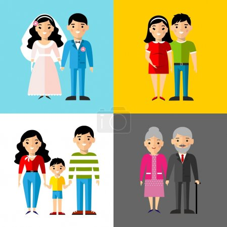 Hochzeitspaar, schwangere Eltern, Großeltern, junge Familie