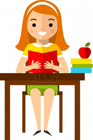 Illustration pour Сoncept of learning with  school children, table and computer - image libre de droit