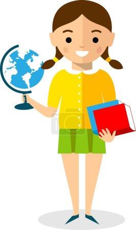 Illustration pour Définir des enfants scolarisés dans le style plat - image libre de droit