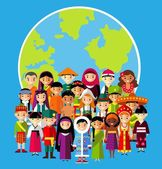 Vector illustration of multicultural national children people on planet earth