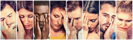 Photo for Collage group of sad depressed people. Unhappy men women - Royalty Free Image