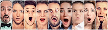 Photo for Surprised shocked people. Human emotions reaction - Royalty Free Image