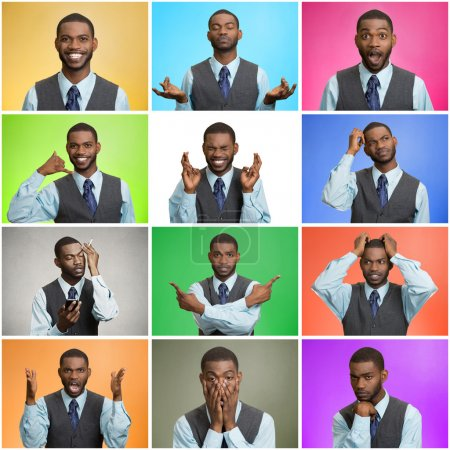 Photo for Mosaic, collage young handsome business man expressing different emotions, facial expressions feeling on different color background. Human life perception body language gestures. Mood, behavior swings - Royalty Free Image