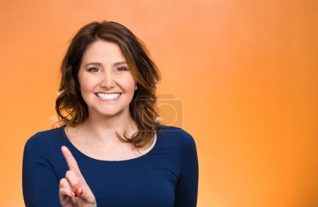 Woman pointing at you camera gesture, pushing button,
