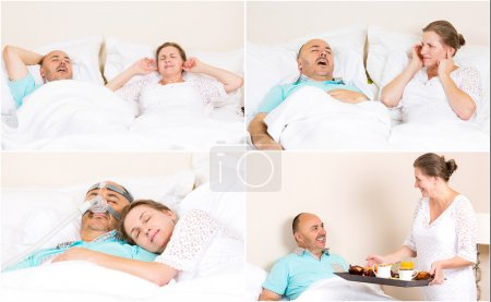 Photo for Sleeping apnea, snoring, stress. Peaceful nights, happy morning with CPAP machine, devise, of middle aged couple. Healthcare management patient of sleep apnea. Human respiratory airway system health - Royalty Free Image
