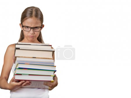 Teenager student holding huge heavy stack of books