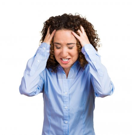 Photo for Frustrated stressed young woman. Headshot unhappy overwhelmed girl having headache bad day pulling her hair out isolated on grey wall background. Negative emotion face expression feelings perception - Royalty Free Image