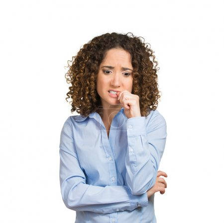 Photo pour Closeup portrait young woman finger in mouth sucking thumb biting fingernail oblivious deep thought, lazy thinking has no solution for problem isolated white background. Negative emotion face expression feeling. Body language life perception attitude - image libre de droit