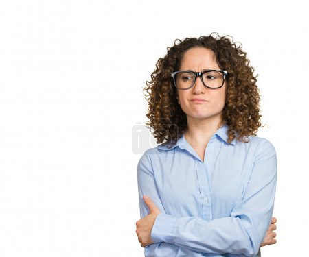 Photo for Closeup portrait nervous concerned woman with glasses craving for something, anxious, isolated white background with copy space. Negative human emotions, facial expressions, body language, perception, vision - Royalty Free Image